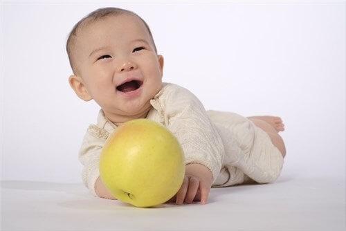 果物のおもちゃで遊ぶ赤ちゃん