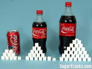 コーラに含まれる角砂糖の量を比較
