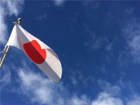 風ではためく日の丸、国旗